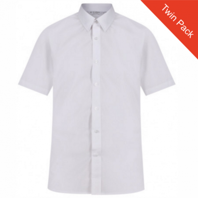 Boys Short Sleeve Non-Iron White Shirt - Twin Pack