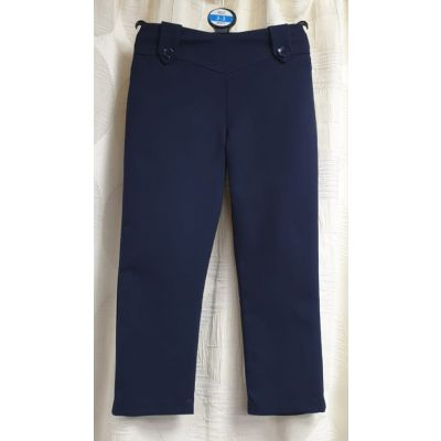 Girls Flower Trousers - Navy