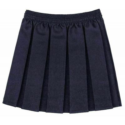 Box Pleated Skirt - Navy
